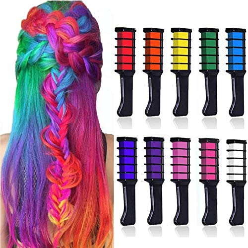 10 Stück Haarkreide Kamm, Kalolary Temporär Haarfarbe Kreide Kamm Haarkreide Auswaschbar Temporäre Instant Einmalige Haar Colorationen Ungiftig Haarfarbe für Kinder Party Cosplay