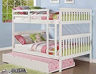 Donco Kids Mission Bunk Bed with Trundle Full/Full/Twin White