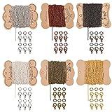 PandaHall Cadenas de collar de cadena de 6 colores con 120 cierres de langosta, 300 anillos de salto a granel para la fabricación de cadena de joyería, 120 pies de largo