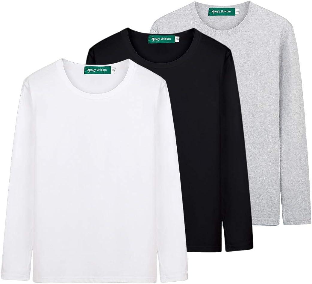 Packs Long-Sleeve Basic Solid Underwear Undershirt T Shirts Tops for Boys n Girls