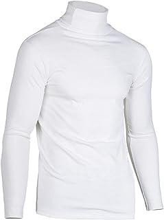 SHOULIEER Plus la Taille Hauts Coton sous-vêtements Thermiques col Haut Hommes col roulé Manches Longues t-Shirts élastiqu...
