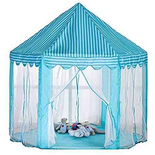 QiHaoHeji Kinder Spielen Zelte Kinder Spielen Haus Faltbare Prinzessin Burg Mädchen Spielhaus Große Größe Mongolisches Zelt Prinzessin Castle Playhouse (Farbe : Blau, Size : 140×135 cm)