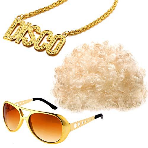 Conjunto de Disfraces Hippies Peluca Afro de Moda Collar de Gafas de Sol para Fiesta Temática de los Años 50/60/70 (Estilo C)