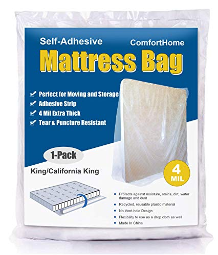 ComfortHome 4 Mil Extra Thick Sealable Mattress Bag with Adhesive Strip for Moving and Storage, Heavy Duty, Fits King and Cal King Size, 1 Pack