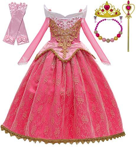 Romy's Collection Princess Toddler Girls Costume Dress Up Set (4-5, Aurora Pink)