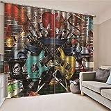 JRCURTAIN Cortina para Habitación Opaca Y Térmica Aislante para Dormitorio 2 Paneles, La Música Rock,2 Paneles,150x166cm