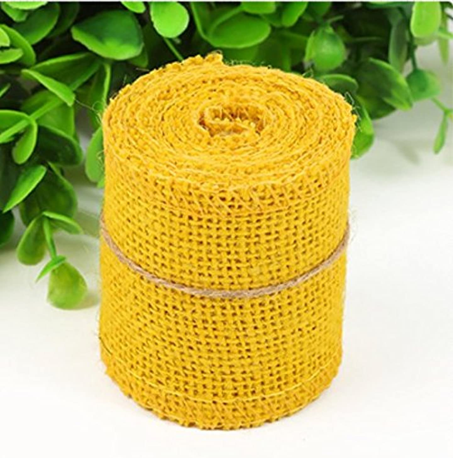 Huachnet Natural Jute Burlap Ribbon Roll Fabric for Wedding Party Home DIY Decoration (Pure Yellow)-Pack of 1