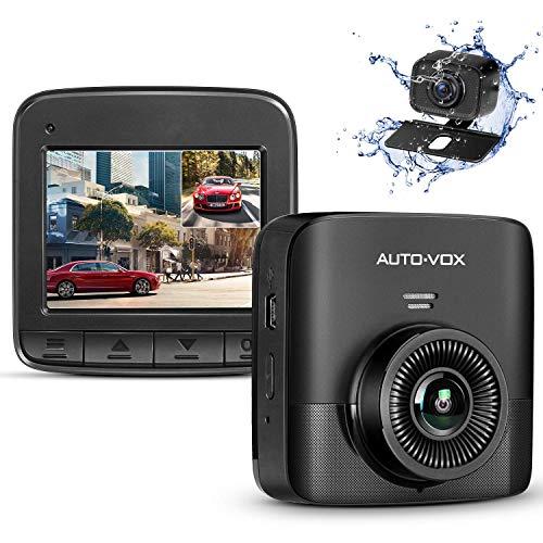"""AUTO-VOX FHD 1520P Dual Dashcam, Dashcam Vorne und Hinten mit AHD720P Rückfahrkamera, Autokamera mit 2,4\"""" LCD Bildschirm, Nachtsicht, G-Sensor, Loop-Aufnahme, Bewegungserkennung, Parküberwachung, WDR"""
