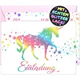 12x Glitzer EINLADUNGSKARTEN + Rosa Umschläge für PARTY und KINDERGEBURTSTAG - die Karten im bunten Einhorn Stern Design sind die EINLADUNG für Mädchen Jungen Kinder zum GEBURTSTAG und KINDERPARTY