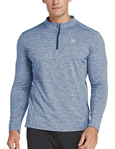 BALEAF Men's 1/4 Zip Pullover Thermal Running Shirts Long Sleeve Fleece Linning Heather Sky Blue XL