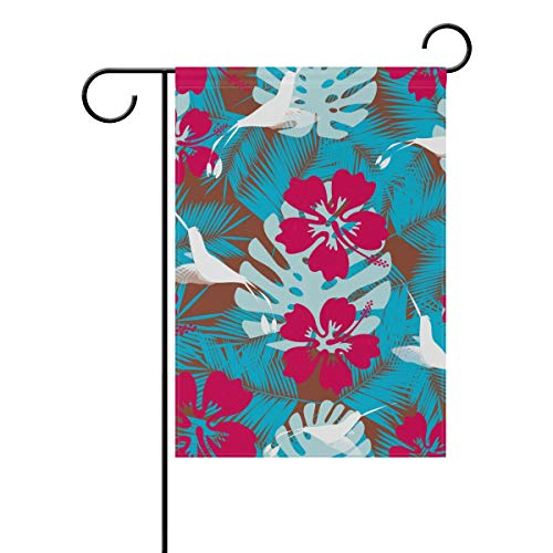KGuanJi Garden Flags Hawaiian Plumeria 12x18 - Double Sided Outdoor Holidays Yard Banner Polyester