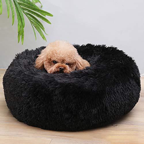 Yaohxu Haustierbett für Katzen und Hunde Rundes Plüsch Hundebett Katzenbett in Doughnut-Form Farbe und Größe Optional Schwarz, M: 50x50cm Unter 4kg