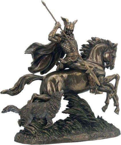 Veronese by Joh. Vogler GmbH Göttervater Odin auf 8 flüssigem Pferd Sleipnir mit Wolf + Speer bronziert Sammel Figur