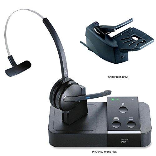 Jabra PRO 9450 Mono Flex-Boom Wireless Headset with GN1000 Remote Handset Lifter for Deskphone & Softphone