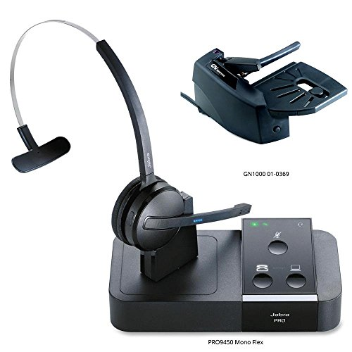 Jabra PRO 9450 Mono Flex-Boom Wireless Headset with GN1000 Remote Handset Lifter for Deskphone & Softphone