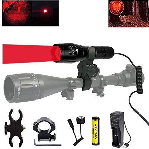 Linterna de caza roja, 350 yardas Luz de depredador roja Zoomable Tactical Hunting Linterna LED Coyote Varmint Hunt con interruptor de presión, soportes de riel y alcance, batería y cargador