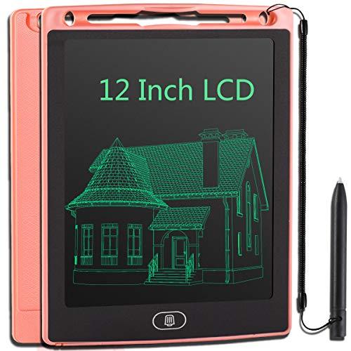 JOEAIS Tableta Escritura LCD 12 Pulgadas, Anti-caída Tablet Dibujo, Tablet para Dibujar para Niños, Regalo para Niños Niñas (Rosado)