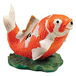 koi spitter statues can be added to ponds for greater aesthetic