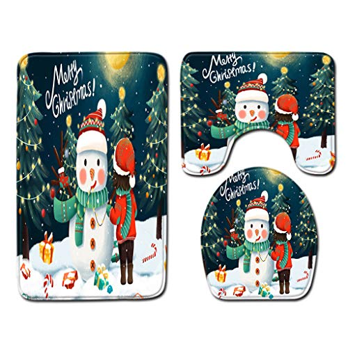 Exquisite Print Three-Piece Toilet Mat,Toilet Mat Happy Halloween Series Toilet Floor Mat Exquisite Print Three-Piece Toilet Mat Home & Garden Bathroom Products Christmas for Faclot (F)
