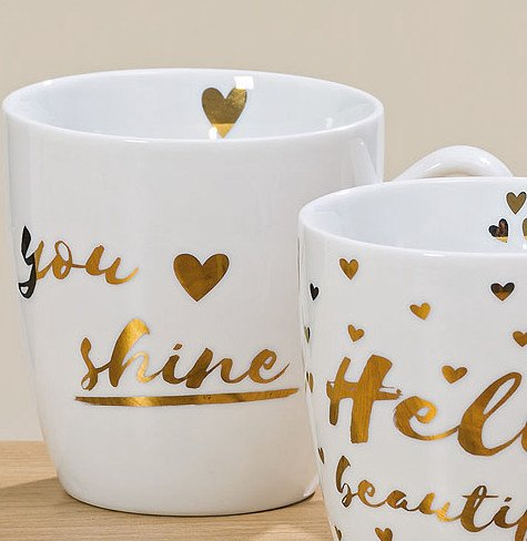 Bloominghome Jumbotasse 480ml Porzellan You Shine Gold-Druck H10 cm Jumbobecher Kaffeetasse