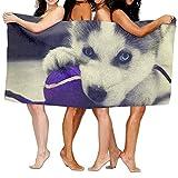 LOPEZ KENT Microfiber Sand Free Beach Towel Blanket, Absorbent Lightweight Thin Towels, Cute Puppy Husky Luxury Bath Towel Hotel & SPA Extra-Absorbent Towel 31.5 X 51.2 for Beach & Bath
