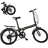 BRADEM 20in 7 Speed Mini Bike Folding Bikes for Men Women Adult BMX Bikes Lightweight Urban...
