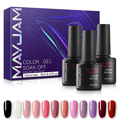 MAYJAM Gel Nagellack Set 12 Farben Semi-Permanent Nail Polish Set Beliebtes Gel Polish Set UV LED Soak Off Gel Polish Gel Maniküre Kit - Nagellack ja Ideal für Vier Jahreszeiten und Geschenk
