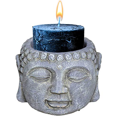 Meditating Buddha Asian Zen - Portavelas de interior para mesa, escritorio, casa, dormitorio, relajación, aromaterapia, yoga, dormir, regalo perfecto para inauguración de la casa