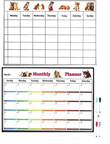 2 Stks Kat Liefde Grote Magnetische Kalender Maandelijks en Wekelijks Actieplan Wit Board met 4 Kleur Markers pennen met Doos