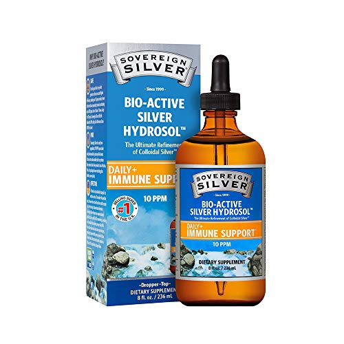 Sovereign Silver Bio-Active Silver Hydrosol for Immune Support - Colloidal Silver - 10 ppm, 8oz (236mL) - Dropper