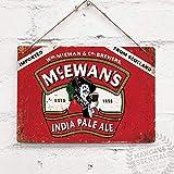 TINBG Mcewans Plaque métallique vintage en aluminium Motif bière écossaise 20 x 30 cm