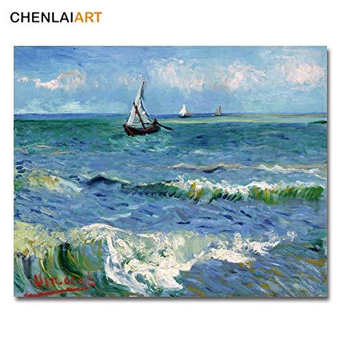 Van Gogh Beroemde Print Canvas Schilderij Zeegezicht bij Saintes Maries Poster Muur Foto Voor Woonkamer Posters En Prints Kunst 40x50cm