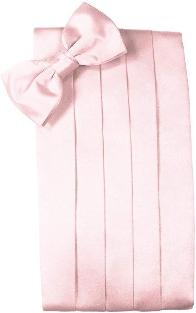 Men's Solid Satin Cummerbund & Bow Tie Set - Many Colors (Pink)
