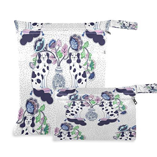 Hunihuni Staffordshire - Bolsa de pañales para perros chinos impermeables y reutilizables, con dos bolsillos con cremallera para viajes, playa, gimnasio, ropa húmeda, 2 unidades