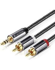[2M] Cable Audio RCA,Victeck Nylon Trenzado 3,5mm Jack Macho a 2 RCA Macho Conectores Estéreo Cable (2m)