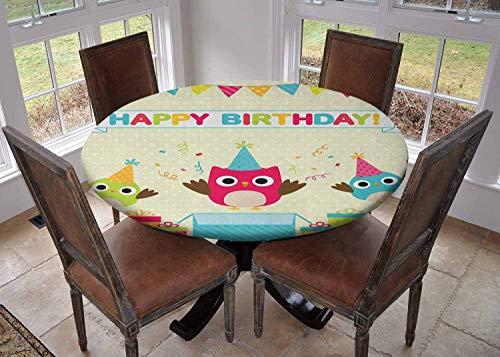 Ronde tafelkleed keuken decoratie, tafelblad met elastische randen, Celebration Uilen Zittend op een tak met ballonnen op Abstract Backdrop Art Multi kleuren, Keuken tafelkleed