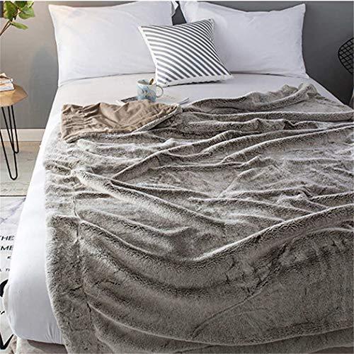 QUEENKITB Manta de Felpa de Piel mullida, sofá cálido Grueso a Cuadros, tamaño Completo, Mantas de Cama de Silla de sofá de visón Suave de tamaño Completo Khaki 120X150CM