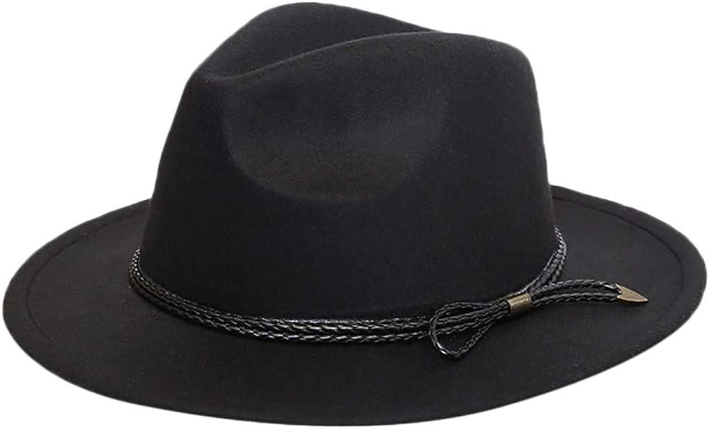 Women Wide Brim Fedora Hats with Belt ,MONISE Classic Vintage Fedora Hat Cap