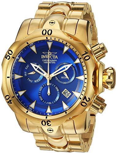 Relógio masculino Invicta Venom Quartz com pulseira de aço inoxidável, dourado, 26 (modelo: 29643)