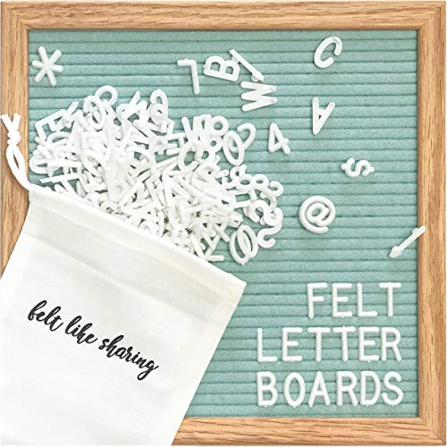 Light Seafoam Green Felt Letter Board 10x10 Inches. Changeable Letter Boards Include 300 White Plastic Letters and Oak Frame.
