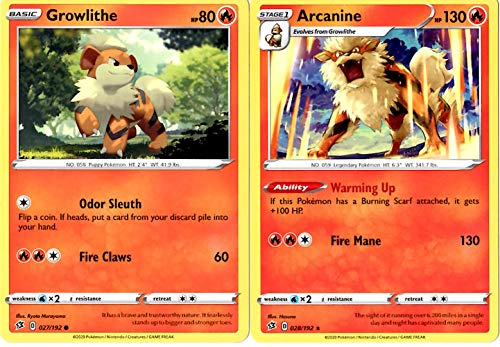 Pokemon Rebel Clash Evolution Set - Arcanine 028/192 - Sword & Shield - Rare 2 Card Lot