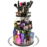 Plastic & Products Marketing Cosmetic Organizer Spins with 4, Clear Tube Holders for Brushes & Mascaras. Only 12' of Counter Space. Great for Salons or Home. Made in The USA ! by PPM.
