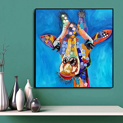 N / A Cororful Giraffe Oil Painting Gedruckt auf Leinwand Cartoon Tiergemälde Cuadros Home Decoration für Wandkunst Bilder Poster 40x40cm No Frame