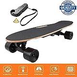 fiugsed Elektrisches Skateboard - 27,5 Zoll Longboard Skateboard mit Funkfernbedienung auf Vier Rädern,Höchstgeschwindigkeit 20km/h zu Senden des Ladegeräts Fernbedienung (Schwarz)