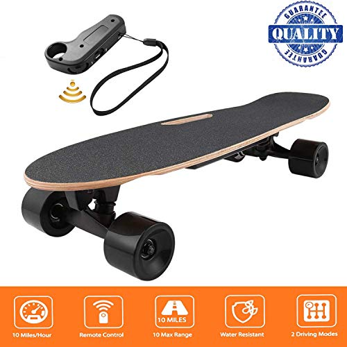 fiugsed Elektrisches Skateboard - 27,5 Zoll Longboard Skateboard mit Funkfernbedienung auf Vier Rädern,Höchstgeschwindigkeit 20km/h zu Senden des Ladegeräts Fernbedienung (Schwarz)*