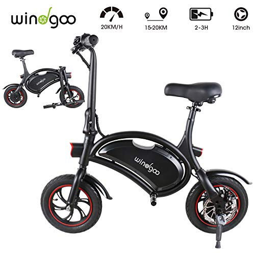 "Windgoo Bicicleta Electrica 36V Plegable - E-Bike 12"", Actualizar Bici Electrica Urbana Ligera para Adulto (Negro)"