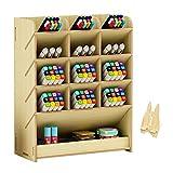 Wooden Desk Organizer, Multi-Functional DIY Pen Holder Storage Box Desktop Stationary Storage Rack for Home, Office and School (B12 White Maple)