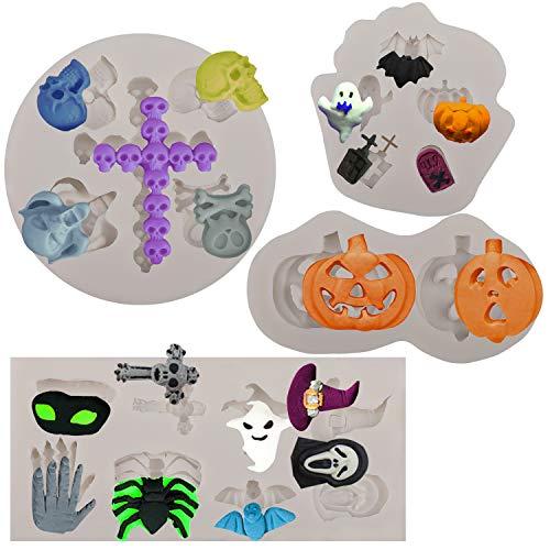 Halloween Moldes Silicona Bricolaje para Reposteria Fondant Caramelos Tartas Helados, Halloween 3D...