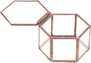 F Fityle Joyero de Vidrio Caja Hexagonal de Cobre Claro para Almacenamiento de Collar de Anillo