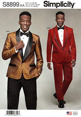 SIMPLICITY S8899 - Cartamodello per giacche, pantaloni e papillon da uomo, carta, bianco, vari